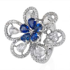 Second Hand 18ct White Gold Sapphire and Diamond Flower Cluster Ring 4328189