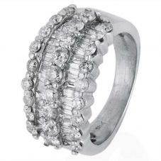 Second Hand 18ct White Gold Five Row Diamond Half Eternity Ring 4328197