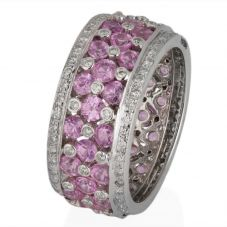 Second Hand 18ct White Gold Pink Sapphire and Diamond Full Eternity Ring