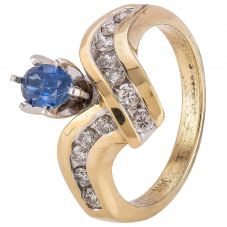 Second Hand 14ct Yellow Gold Oval Sapphire Diamond Fancy Ring 4328222