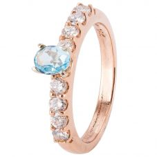 Second Hand 14ct Rose Gold Aquamarine and Diamond Ring