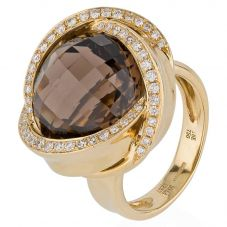 Second Hand 18ct Yellow Gold Smokey Quartz and Diamond Ring