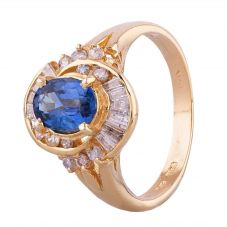 Second Hand 14ct Yellow Gold Sapphire and Diamond Cluster Ring