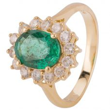 Second Hand 14ct Yellow Gold Emerald and Diamond Cluster Ring