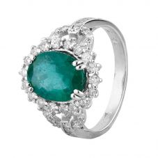 Second Hand 14ct White Gold Emerald and Diamond Cluster Ring