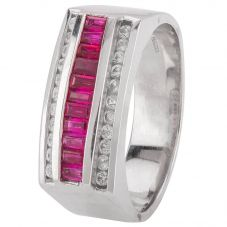 Second Hand 9ct White Gold Mens Ruby and Diamond Signet Ring