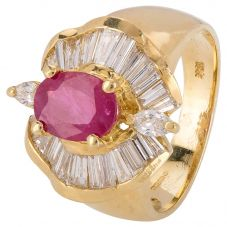 Second Hand 18ct Yellow Gold Ruby and Diamond Ballerina Ring 4328258