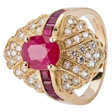 Second Hand 14ct Yellow Gold Ruby and Diamond Cluster Ring 4328259