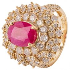 Second Hand 14ct Yellow Gold Ruby and Diamond Cluster Ring 4328261