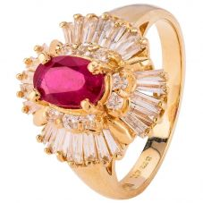 Second Hand 14ct Yellow Gold Ruby and Diamond Ballerina Ring 4328262