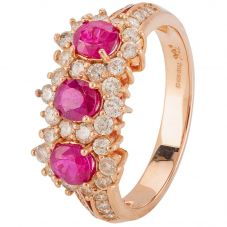 Second Hand 18ct Rose Gold Ruby and Diamond Cluster Ring 4328263