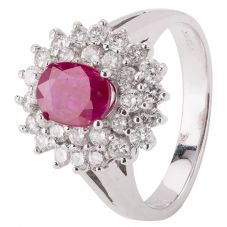 Second Hand 14ct White Gold Ruby and Diamond Cluster Ring 4328264