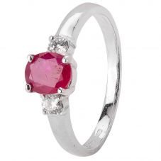 Second Hand 14ct White Gold Ruby and Diamond Trilogy Ring