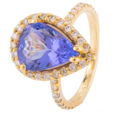 Second Hand 14ct Yellow Gold Tanzanite and Diamond Ring 4328273