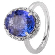 Second Hand 18ct White Gold Oval Tanzanite Diamond Cluster Ring 4328274