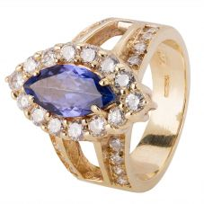 Second Hand 9ct Yellow Gold Tanzanite and Diamond Ring 4328281