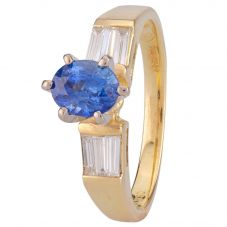 Second Hand 18ct Yellow Gold Sapphire and Diamond Ring