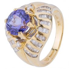 Second Hand 18ct Yellow Gold Tanzanite and Diamond Ring