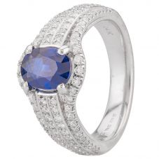 Second Hand 14ct White Gold Sapphire and Diamond Ring 4328295