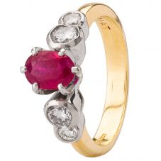 Second Hand 18ct Yellow Gold Ruby and Diamond Ring 4328303