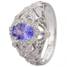 Second Hand 18ct White Gold Tanzanite Diamond Ring 4328314