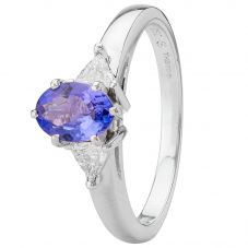 Second Hand 18ct White Gold Tanzanite and Diamond Ring
