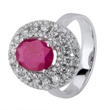 Second Hand 18ct White Gold Ruby and Diamond Cluster Ring 4328319
