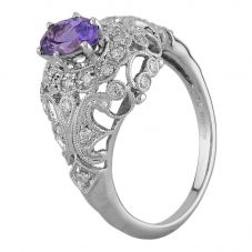 Second Hand 18ct White Gold Tanzanite and Diamond Decorative Cluster Ring