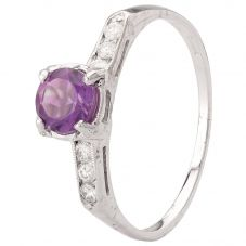 Second Hand 14ct White Gold Amethyst and Diamond Ring 4328330