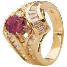 Second Hand 9ct Yellow Gold Ruby and Diamond Ring 4328332