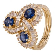 Second Hand 14ct Yellow Gold Sapphire and Diamond Ring 4328389