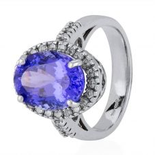 Second Hand 14ct White Gold Oval Tanzanite and Diamond Cluster Ring 4328390