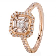 Second Hand 18ct Rose Gold Cushion Diamond Cluster Ring