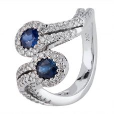Second Hand 18ct White Gold Sapphire and Diamond Twist Ring 4328395