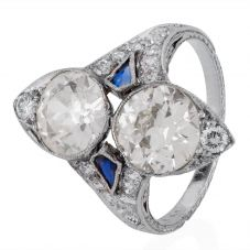 Second Hand Platinum Sapphire and Diamond Cluster Ring