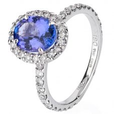 Second Hand 14ct White Gold Tanzanite and Diamond Ring