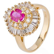 Second Hand 14ct Yellow Gold Ruby and Diamond Ring 4328403