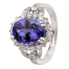 Second Hand 14ct White Gold Oval Tanzanite Diamond Ring 4328404