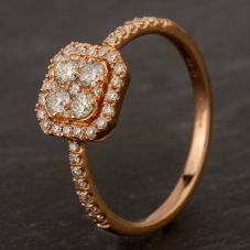 Second Hand 18ct Rose Gold Diamond Oblong Cluster Ring