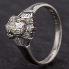 Second Hand Platinum Oval 0.81ct Diamond Cluster Baguette Shoulder Ring
