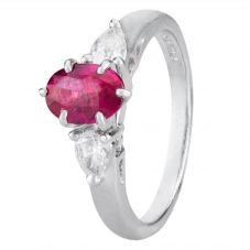 Second Hand Platinum Ruby and Pear Diamond Ring