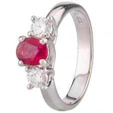 Second Hand Platinum Ruby and Diamond Three Stone Ring