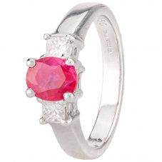 Second Hand Platinum Ruby and Diamond Three Stone Ring 4329235