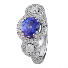 Second Hand 18ct White Gold Tanzanite Diamond Ring 4329300