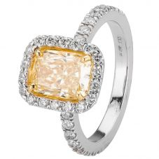 Second Hand Platinum 2.02ct Yellow Diamond Cluster Ring 4329302