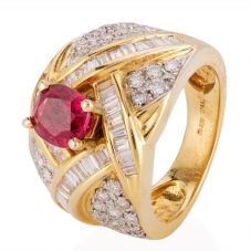 Second Hand 14ct Yellow Gold Oval Ruby Baguette Cut Diamond Ring 4229636