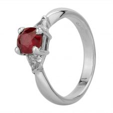 Second Hand 18ct White Gold 1.11ct Ruby and 0.30ct Diamond Ring GMC(59/3/5)