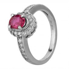 Second Hand 14ct White Gold 0.93ct Ruby and 0.35ct Diamond Cluster Ring GMC(67/1/9)