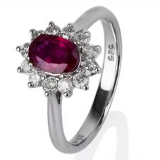 Second Hand 14ct White Gold Oval Ruby and Diamond Cluster Ring