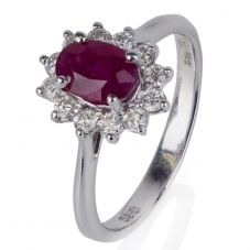 Second Hand 14ct White Gold Ruby And Diamond Cluster Ring
